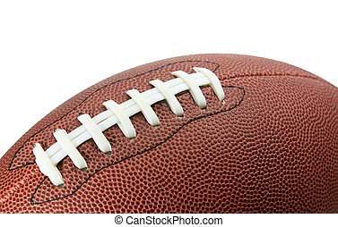 American Football - American Style Football Closeup on White...