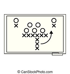 American football strategy on blackboard black and white