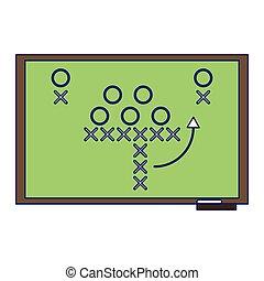 American football strategy on blackboard blue lines