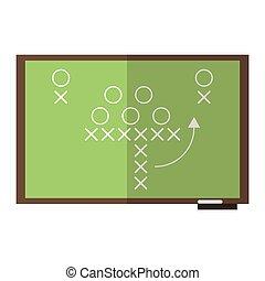 American football strategy on blackboard