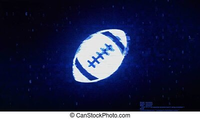 American Football Symbol Digital Pixel Noise Error Animation.