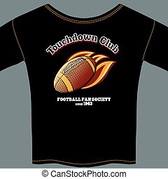 American football t-shirt template - Black T-shirt with the...