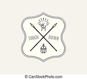 American Football tackle and touchdown black on white