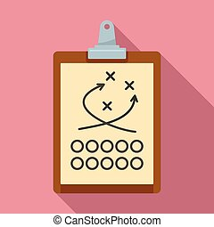 American football tactical clipboard icon, flat style