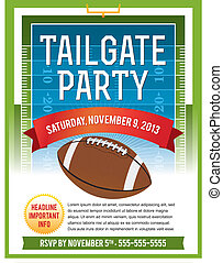 A vector flyer design perfect for tailgate parties, football invites, etc. EPS 10. File contains transparencies. Text is layered for easy removal and customizing.
