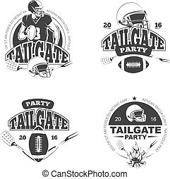 American football tailgate party vintage labels vector set