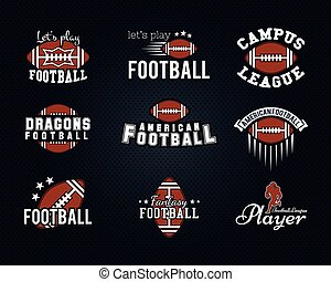 American football team, college badges, logos, labels, insignias, icons in retro style. Graphic vintage design for t-shirt, web. Color emblems isolated on a dark dotted halftone background. Vector
