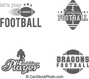 American football team, college badges, logos, labels, insignias set in retro style. Usa sport emblem. Graphic vintage design for t-shirt, web. Monochrome print isolated on a white background. Vector
