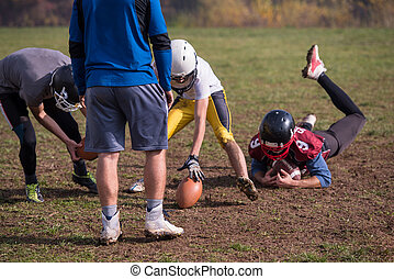 american football team in action