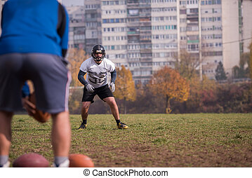 american football team with coach in action