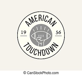 American Football touchdown badge black on white