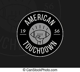 American Football touchdown badge white on black
