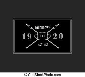 American football touchdown instinct white on black