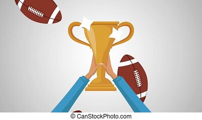 American football trophy HD animation