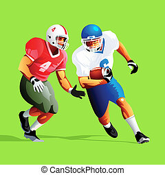 American football - Two american football player fighting...