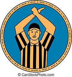 American Football Umpire Hand Signal Circle Mono Line