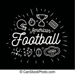 American football. Vector illustration in the style of thin lines with flat icons in black and white