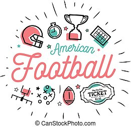 American football. Vector illustration in the style of thin lines with flat icons