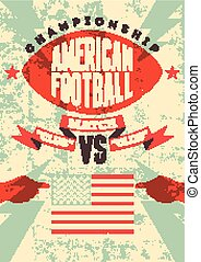 American football vintage poster.