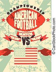 American football vintage poster.