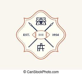 American football vintage style badge