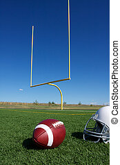 American Football with goal posts - American Football with...