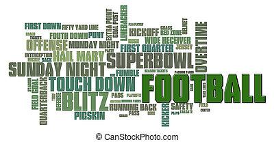Football Word Cloud - American Football Word Cloud on a...