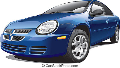 American four-door sedan - Detail vector image of American ...