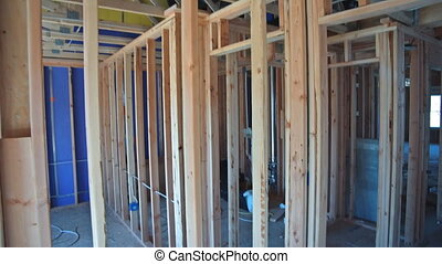 American residential frame house under construction home in interior home