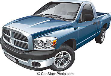 Detail vector image of blue full-size pickup, isolated on white background. Easily edit: file is divided into logical layers and groups. No strokes. NOTE: file contains gradients and transparency.