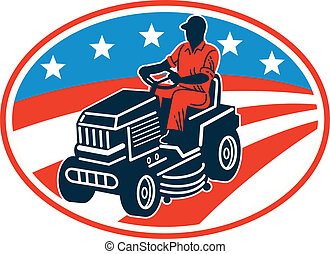 Illustration of American male gardener mowing riding on ride-on lawn mower with stars and stripes flag set inside oval done in retro woodcut style.