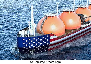 American gas tanker sailing in ocean, 3D rendering