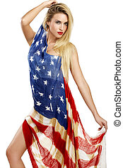 american girl cover herself with a big american flag