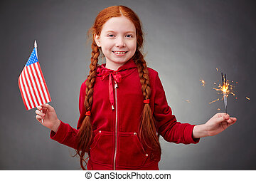 American girl - Cute girl with benghal light and American...