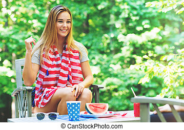 American girl hanging out on the fourth of July