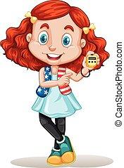 American girl holding stopwatch