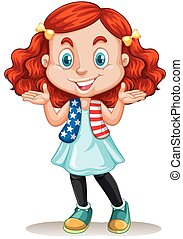 American girl with red hair illustration