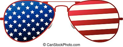 American glasses Icon. Happy 4 th July and Independence Day. Cartoon Vector illustration