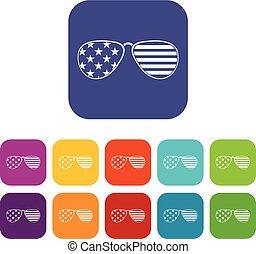 American glasses icons set flat