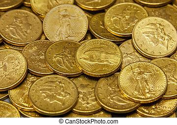 American gold coin treasure hoard of the rare USA double eagle 20 dollar bullion