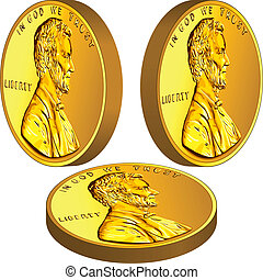 American gold money, one cent coin with the image of the Lincoln in three different angles