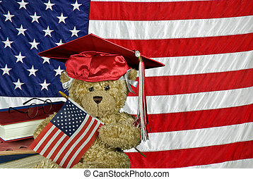 American Grad - Teddy bear with grad cap and flag.