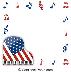 American Grand Piano With Notes - An American flag grand...