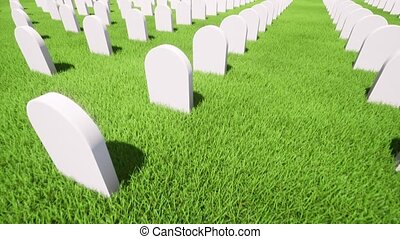 American grave green grass on green background. 4k