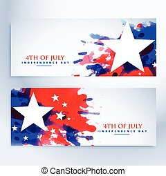 american grunge flag banners set