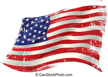 american grunge flag in the win
