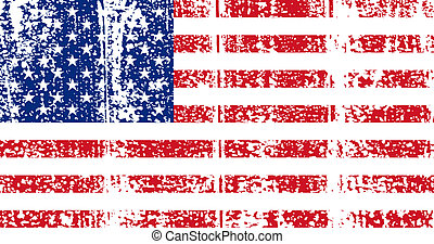 American grunge flag. Vector illustration. - American grunge...