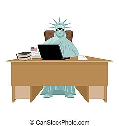 American hacker. computer thief from USA. Statue of Liberty in mask and  laptop. Hacking database. Cyber criminal