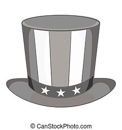American hat icon, black monochrome style