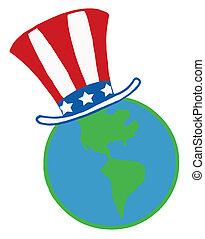 American Hat On A Globe